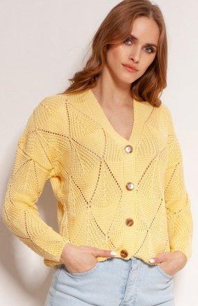 Ażurowy sweter na guziki żółty SWE143