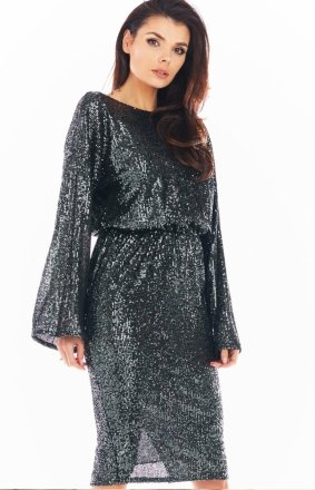 Cekinowa sukienka midi grafitowa A402