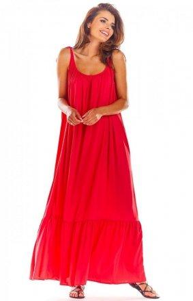 Zwiewna sukienka letnia ciemno różowa maxi A307