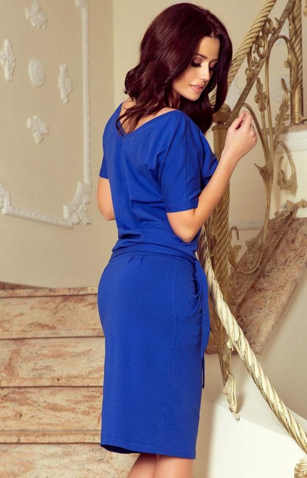 Chabrowa sukienka z wiązaniem Cassie Numoco 249-1 tył