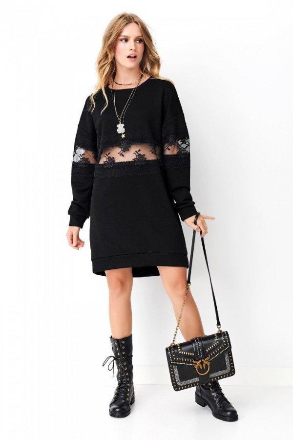 Czarna sukienka z koronką NU260-1