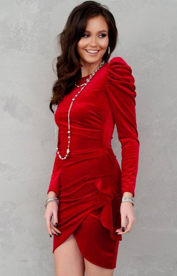 Wieczorowa sukienka z bufkami czerwona 270-1