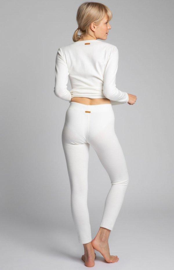 Bawełniane legginsy damskie ecru LA035 tył