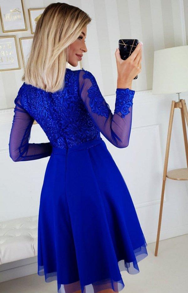 Bicotone 2160-05 sukienka rozkloszowana chabrowa tył