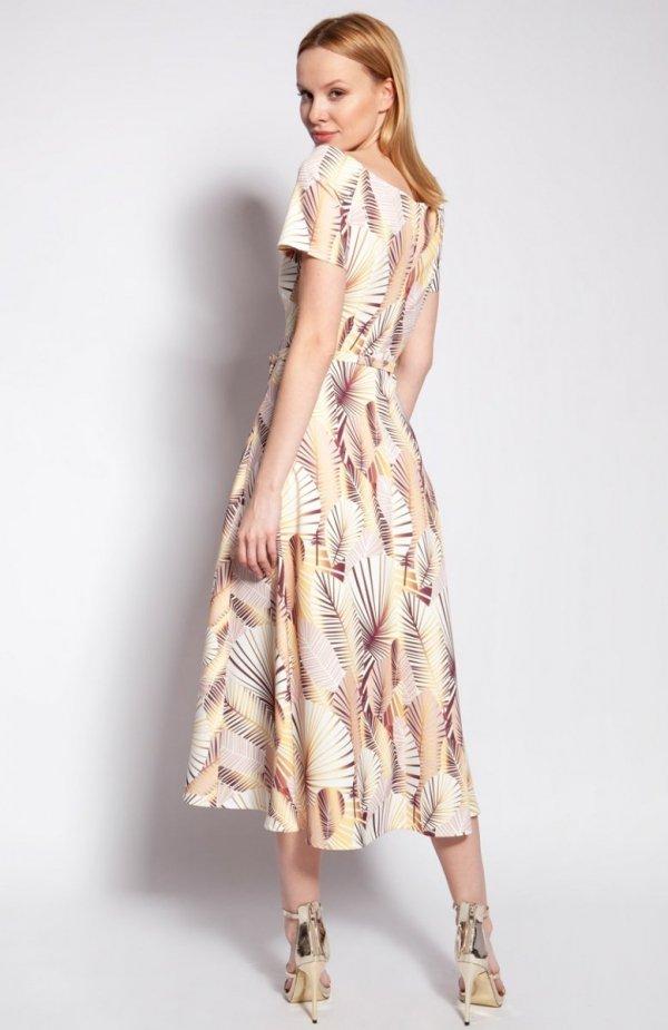 Sukienka z odkrytymi ramionami abstrakcyjne liście SUK182 tył