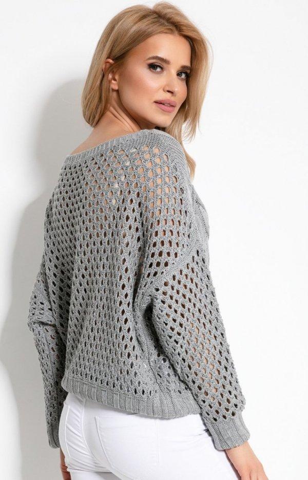 Ażurowy sweterek szary F893 tył