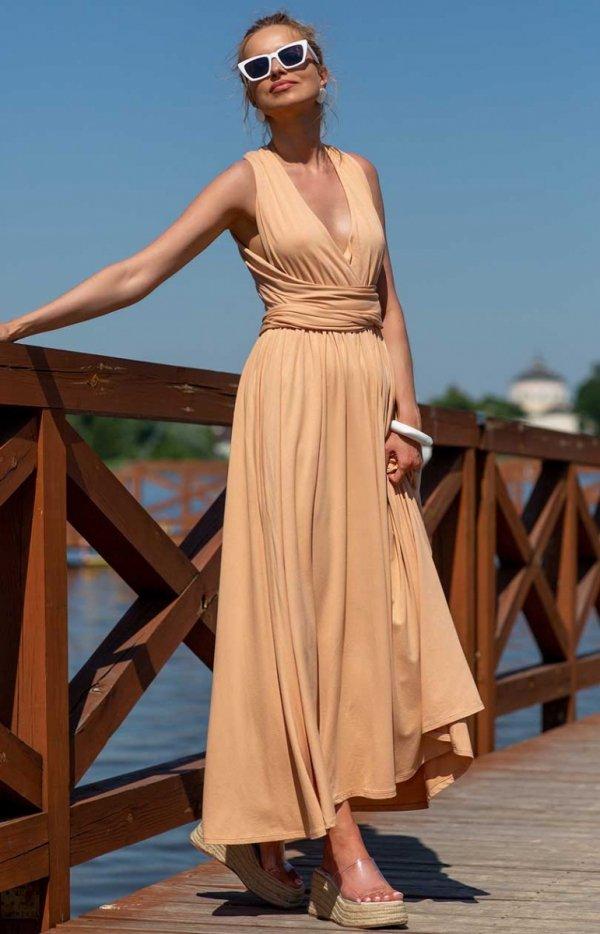 Letnia sukienka maxi piaskowa F1252