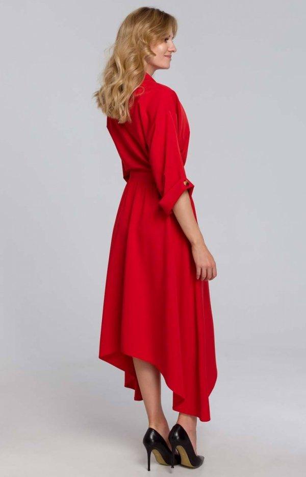 Asymetryczna długa sukienka czerwona K086 tył