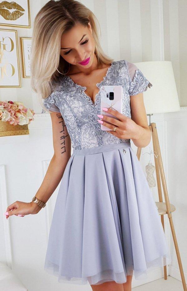 Bicotone 2180-03 sukienka rozkloszowana szara