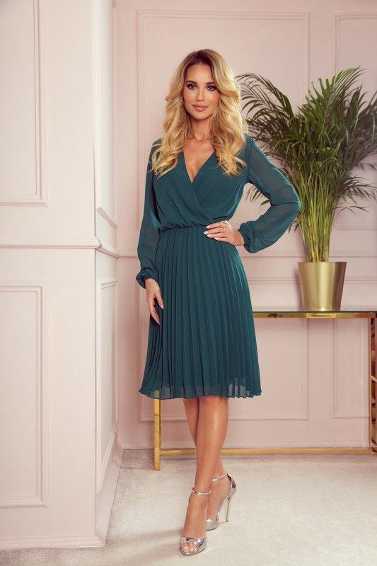 Elegancka sukienka z plisowaniem Numoco 313-1-`