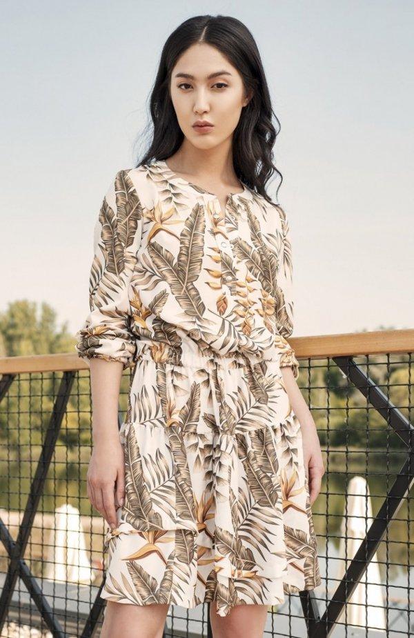 Sukienka z falbanką liście ecru SUK174