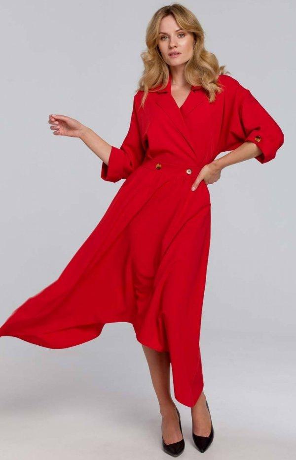 Asymetryczna długa sukienka czerwona K086