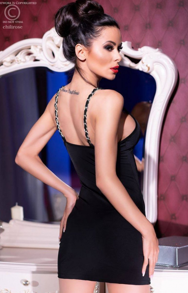Dopasowana mini sukienka czarna 4242  tył
