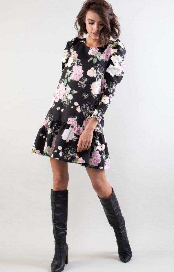 Luźna sukienka z falbanką w róże NA195LP-1
