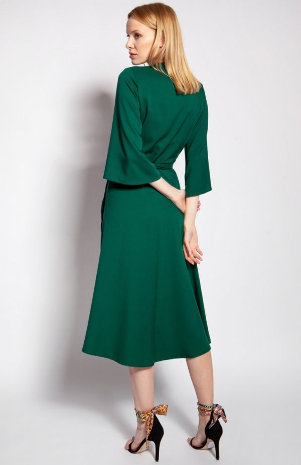 Sukienka kopertowa zielona SUK185 tył