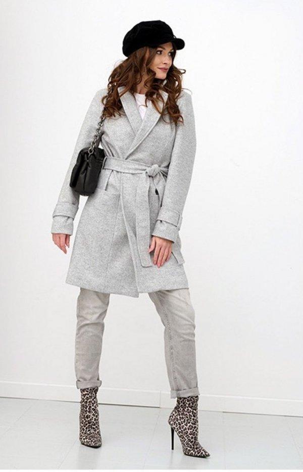 Wiązany płaszcz damski szary 0019-1