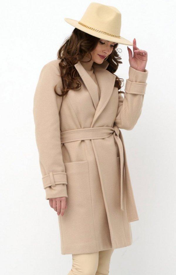 Wiązany płaszcz damski beżowy 0019-1