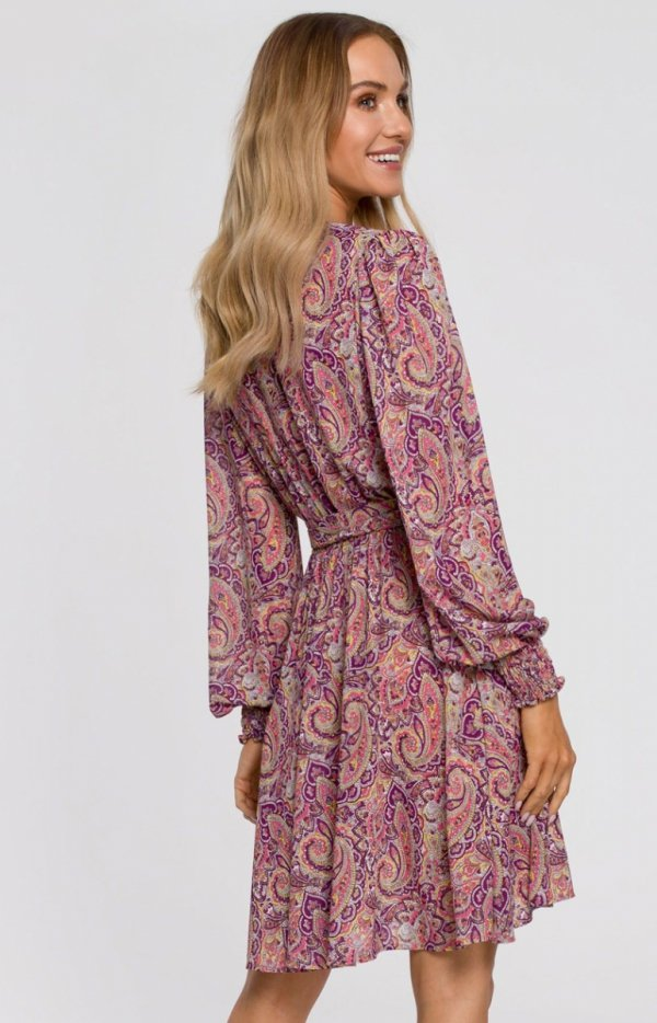 Lekka kopertowa sukienka M576/2 tył