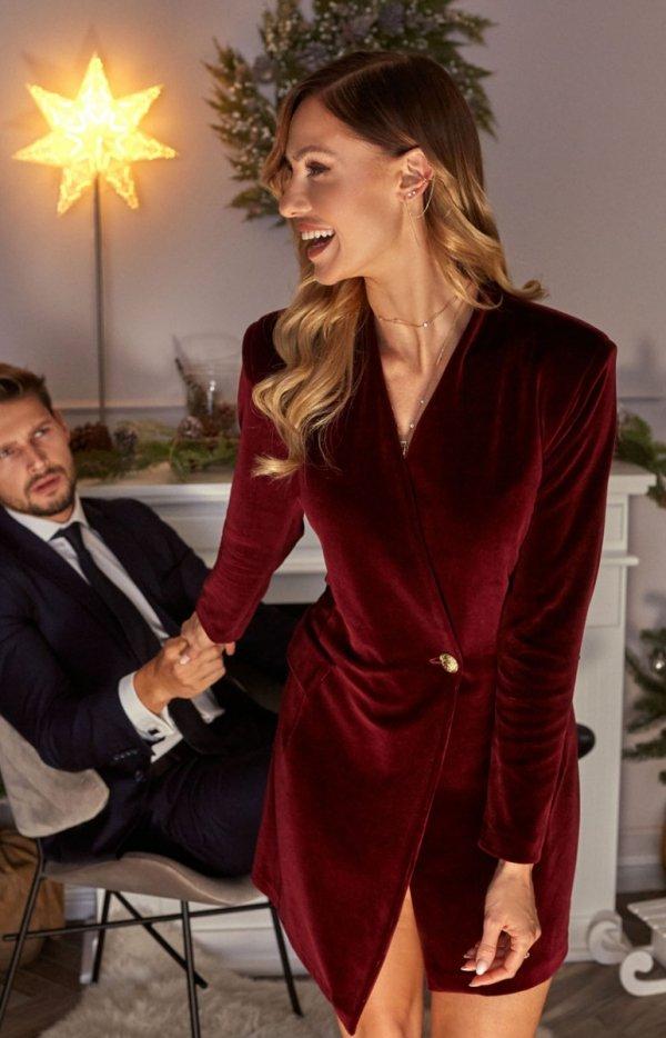 Welurowa sukienka żakietowa bordowa M562