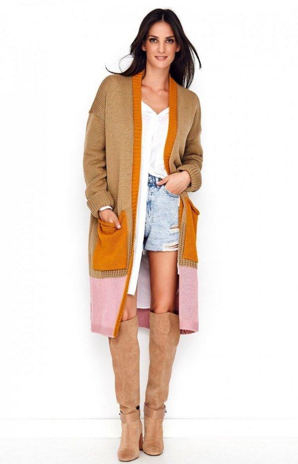 Długi trójkolorowy sweter kardigan S70-1