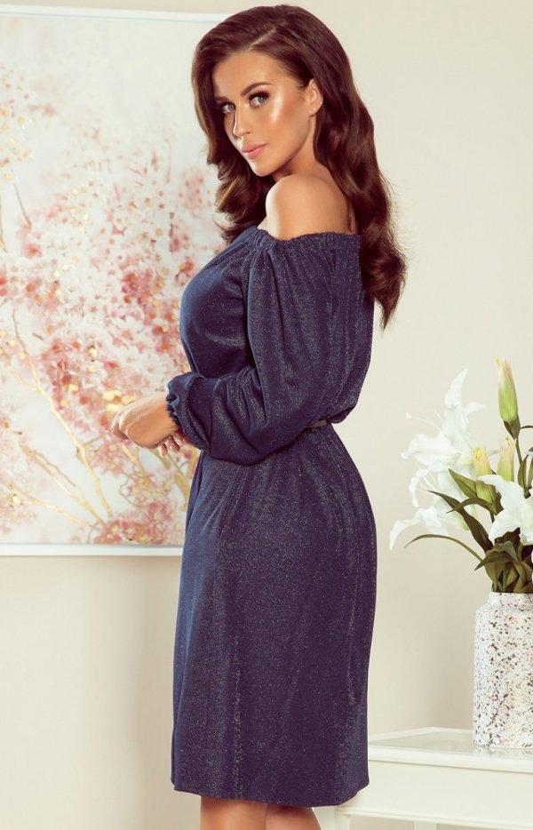 Numoco sukienka z połyskiem Dina 270-1 tył