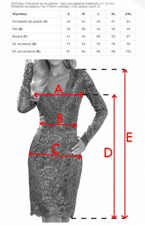 Koronkowa dopasowana sukiena Numoco czerwona 170-6 tabela