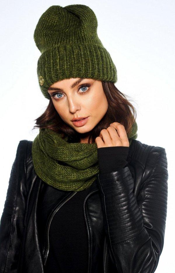 Zimowy komplet czapka i szalik khaki LC119