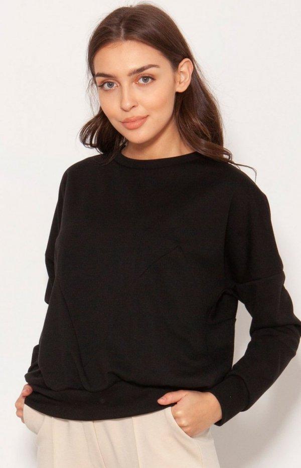 Luźna bluza damska czarna BLU148
