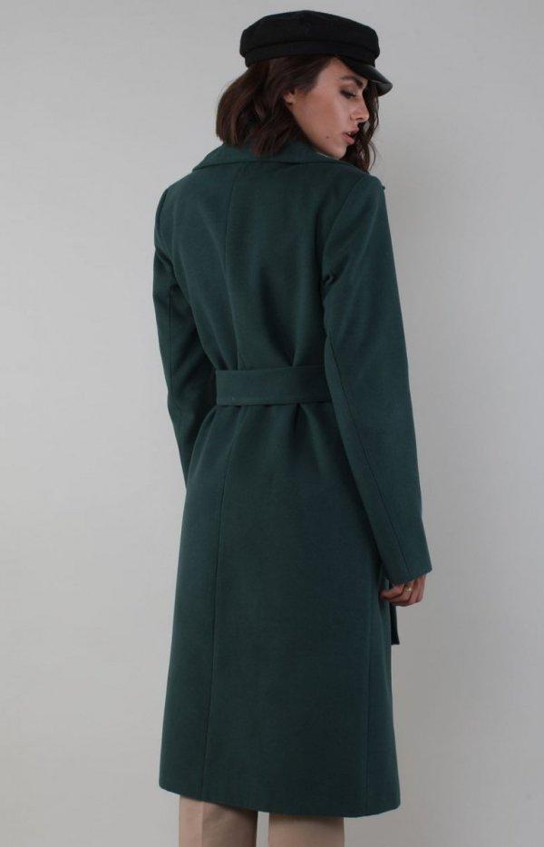 Ciepły płaszcz wiązany zielony NA186LP tył