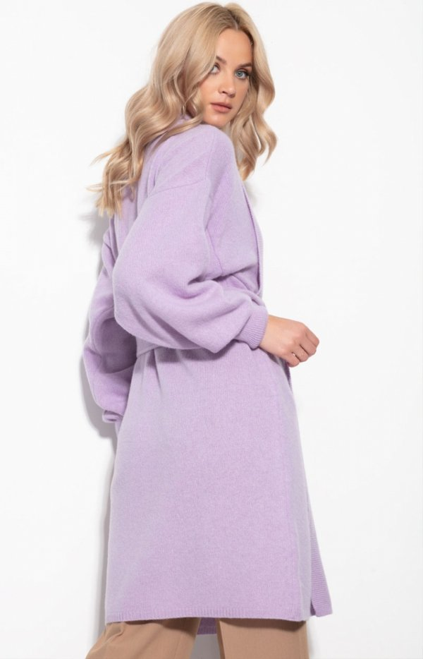 Kaszmirowy sweter z wiązaniem fioletowy Fobya F1120 tył