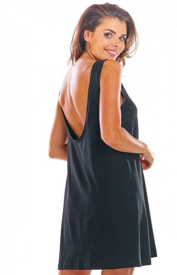 Luźna sukienka z dekoltem na plecach M204 tył