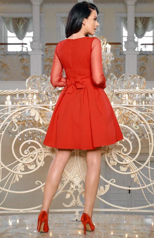 Bicotone 2166-02 sukienka rozkloszowana czerwona tył