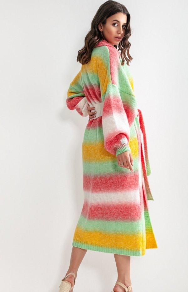 Długi kardigan multicolor tahiti z wełną F1160 tył