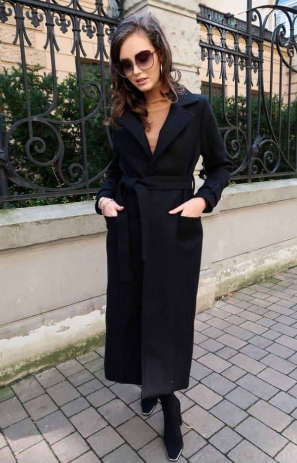 Długi płaszcz z wiązaniem czarny 0017