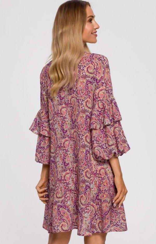 Oversizowa lekka sukienka M575/2 tył