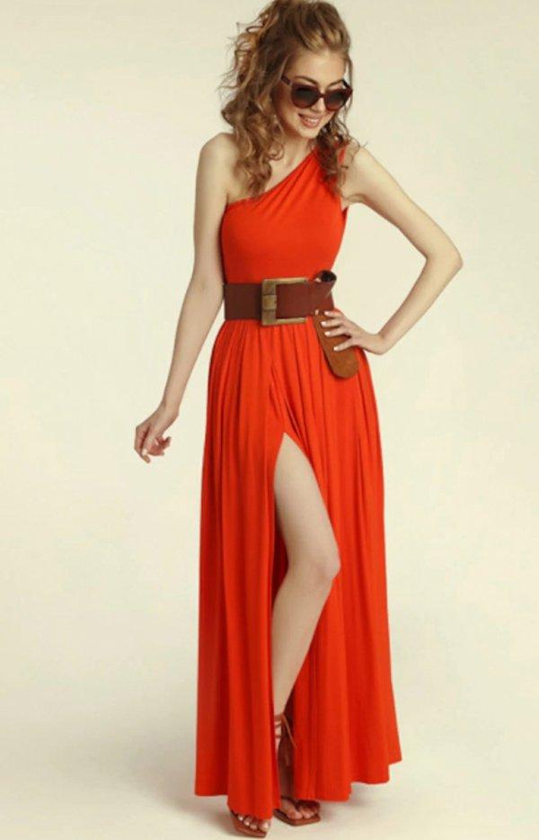 Długa sukienka na jedno ramię Erin red