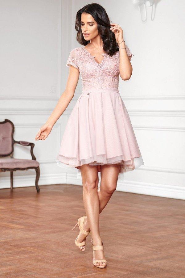 Koronkowa sukienka z tiulem 2180-20-2