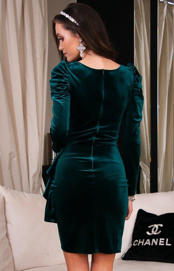 Wieczorowa zielona sukienka z bufkami 270 tył