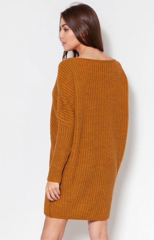 Oversizowy sweter damski musztardowy SWE135 tył