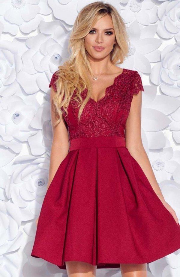 Bicotone 2139-10 sukienka rozkloszowana bordowa