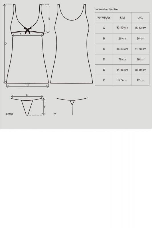 Obsessive Caramella chemise komplet
