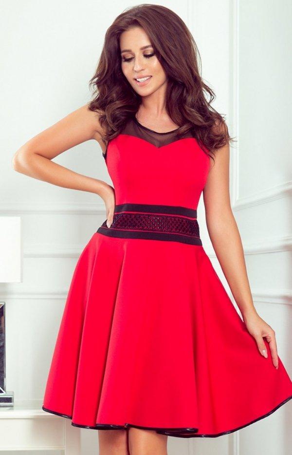 Rozkloszowana czerwona sukienka 261-1 RICA