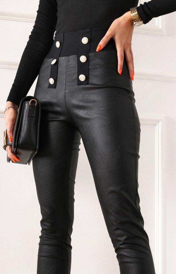 Czarne spodnie z miękkiej eko skórki-1