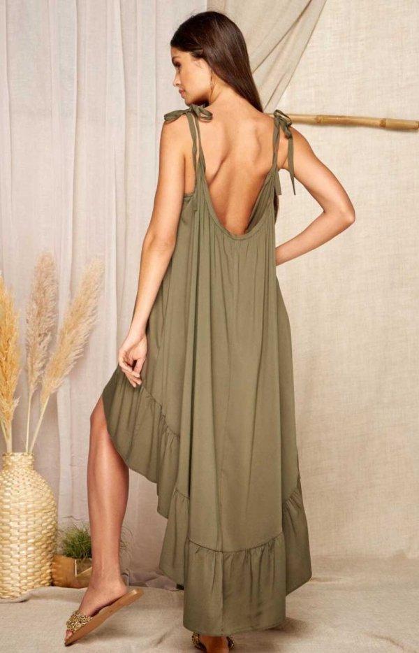 Asymetryczna letnia sukienka khaki L368A tył