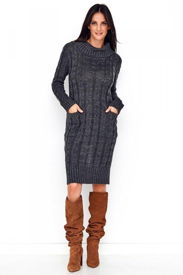 Sweterkowa sukienka z golfem grafitowa S68-1