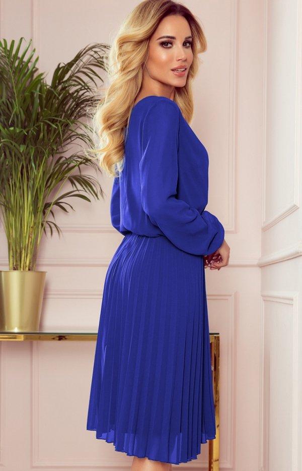 Elegancka sukienka z plisowaniem Numoco 313-3 tył
