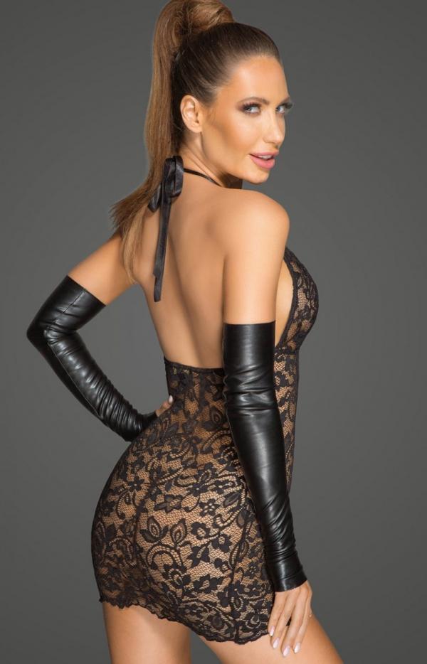 Koronkowa mini sukienka z rękawiczkami F210 tył