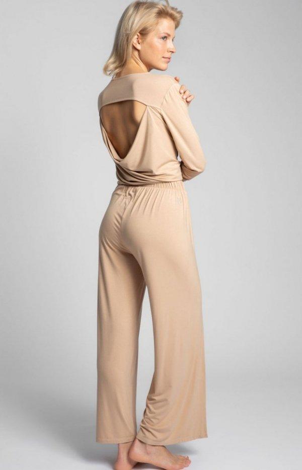 Szerokie spodnie z rocięciami cappucino LA026 tył