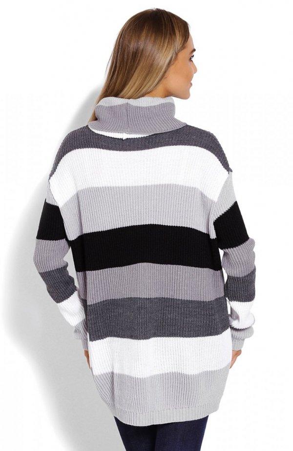 PeekaBoo 40012 sweter golf szary tył