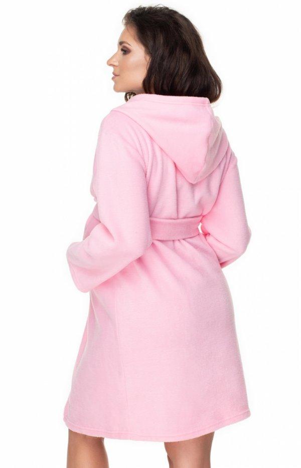 Różowy ciążowy szlafrok polar 0148 tył